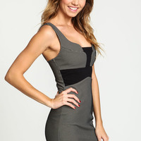 BLACK DOTTED CONTRAST BODYCON DRESS