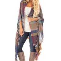 Camel Multicolor Woven Plaid Cardigan with Fringe Detail