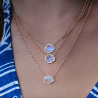 14kt gold and diamond free form moonstone necklace – Luna Skye