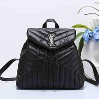 YSL Women Leather Bookbag Shoulder Bag Handbag Backpack