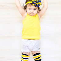 Yellow and Blue Korker Bow, Boutique Bow, Hairbow, 3 inch Bow, Yellow Bow, Newborn Headband, Baby Headband