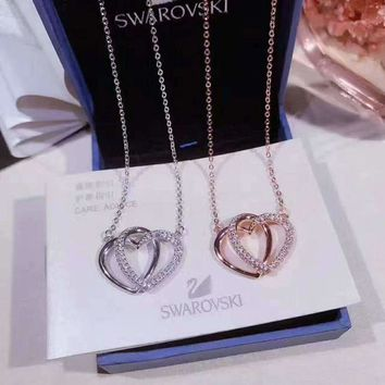 ONETOW SWAROVSKI  Lovers' double heart necklace,