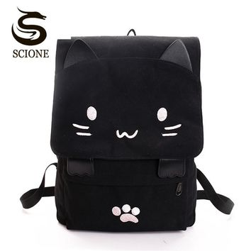 Women Cute Cat Canvas Backpack - Kawaii School Bag for Students