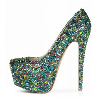 POSH GIRL Leigh Green Rhinestone Platform Pumps