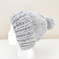 Knit Women's Hat, Pom Pom Hat for Teens, Gray