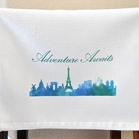 Kitchen Dish Towel - Watercolor Paris Skyline - Adventure Awaits