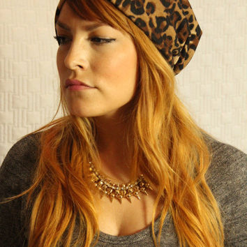 Leopard Print Slouchy Beanie Womens Hat Winter Hair Accessory slouch hipster