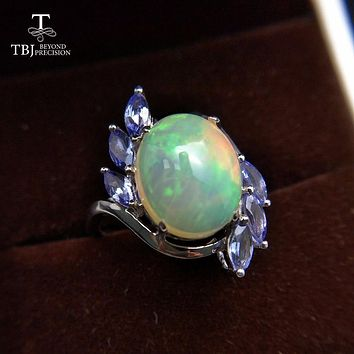 TBJ,18K white gold ring with natural opal and tanzanite gemstone ,simple and fashion Ring for girls with gift box,as best gift