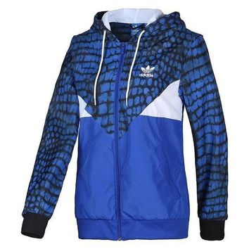 DCCKNQ2 ADIDAS Sport Fashion Print Hooded Cardigan Jacket Coat Windbreaker