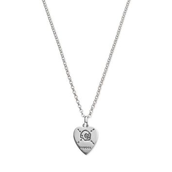 Gucci Ghost Silver Heart Charm Pendant Chain Necklace