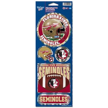 "FLORIDA STATE SEMINOLES FOOTBALL OFFICIAL 10.5"" X 4"" PRISMATIC DECAL SET NEW"