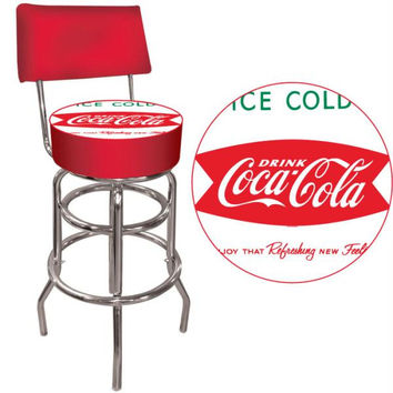Vintage Coca-Cola Coke Pub Stool with Back - Ice Cold Design