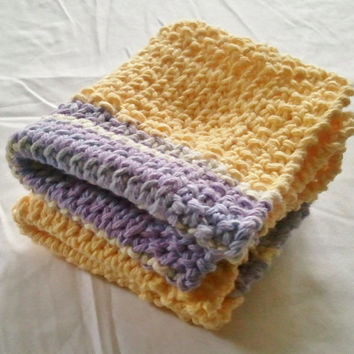 Dishcloth Washcloth Yellow Purple Multicolored by MadebyMegShop