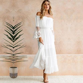 Long Dress Women Sexy Off the Shoulder Lace Maxi Dresses Patchwork Flare Sleeve Elegant Evening Party Vestidos Boho Ladies White