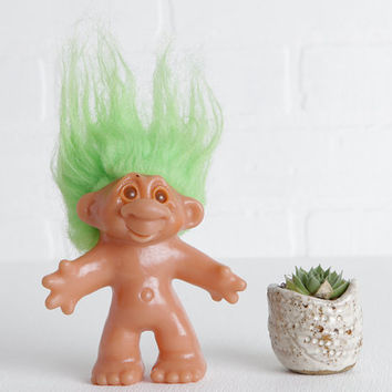 Vintage 1986 Dam Troll Doll with Green Hair and Amber Eyes, 80s Toys
