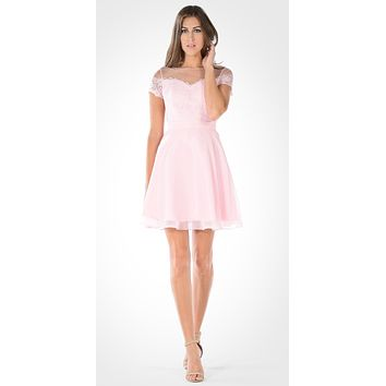 Pink Illusion Lace Bodice Short Sleeves Homecoming Party Dress