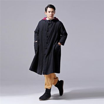 2017 New Chinese Style Cotton and Linen Mens Dress Retro Literature Hooded Trench Long Coat Double-deck Trench D605
