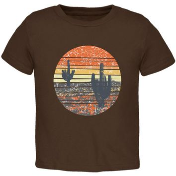 Vintage Cactus Sunset Toddler T Shirt