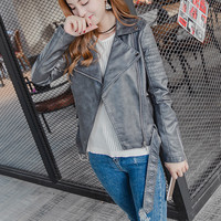 2017 Autumn Winter New Women Motorcycle Faux Leather Jacket Lady Slim Long Sleeve Zipper Coat Hot Clothes Drop Shipping