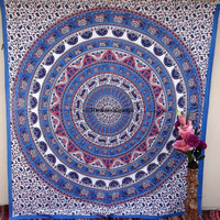 Dorm Bedding Tapestry Art,Psychedelic Star Mandala Tapestry Wall Hanging, Hippie Boho Wall Tapestries, Indian Bedspread Bohemian Room Décor