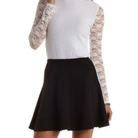 Long Sleeve Ribbed & Lace Turtleneck Top by Charlotte Russe