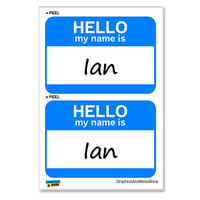 Ian Hello My Name Is - Sheet of 2 Stickers