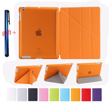 Smart Case For Ipad 2 3 4 Stand PU Leather Cover 4 Shapes + Soft TPU Silicone Bottom For New Ipad 3 4 + Stylus Pen Gift