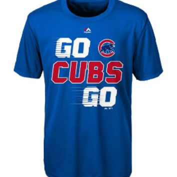 Youth Chicago Cubs Majestic Royal Double Header Cool Base T-Shirt