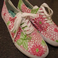 Lilly pulitzer inspired Handpainted canvas shoes- white zin