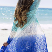 Ocean Waves Blue Multi Colored Kimono