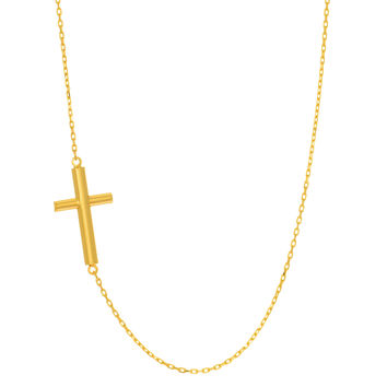 14K Yellow Gold Sideways Flat Cross Pendant On 18 Inch Necklace