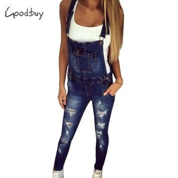 PEAPGC3 Goodbuy 2017 Summer Womens Denim Jumpsuits Overalls Sexy Jeans Office Casual Hole Pocket Spring Pencil Pants Femme Real Photo