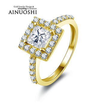 AINUOSHI 10K Solid Yellow Gold Engagement Rings 1 ct Princess Cut Sona Simulated Diamond Wedding Band Jewelry Women Halo Ring