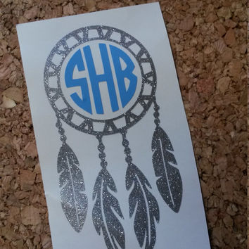 Dream Catcher Monogram | Dream Catcher Vinyl Decal | Monogram | Decal | Glitter | Dream | Gift | Feather |Car decal