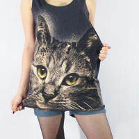 CAT KITTY Yellow Eyes Lovely Cute Animal Shirt Women by punkalife