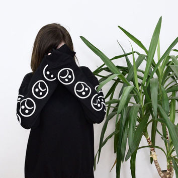 Sad Faces Emoticon Sleeves Printed Keyboard Sweatshirt  Black White Tumblr Hoodies Winter Tracksuit Clothing