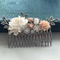 Evangeline - Nude Blush Silver Bridal Hair Comb