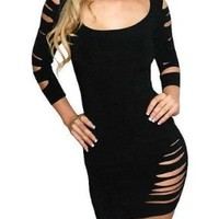 Sexy Cut Out Barracuda Quarter Sleeves Club Dress - Large - Black