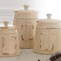 """""""Antiqued"""" Canisters-Horchow"""