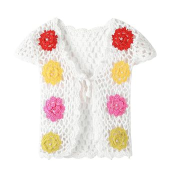 Toddler Baby Cardigan Clothes 2018 Casual Handmade Crochet Colorful Flower Pearl Hollow Vest Top Outwear for Baby Girls