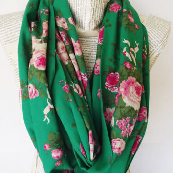 Cotton Lightweight Soft Emerald Jade Green with Pink Flowers Infinity Scarf, Circle Scarf, Women Accessories