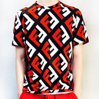 Fendi New fashion letter couple sports  leisure top t-shirt