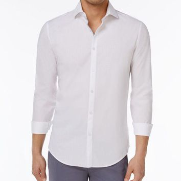 ESBONIS Calvin Klein Men's Slim-Fit Dobby Cotton Shirt (XL, White)