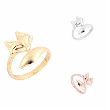 yiustar 2017 New Arrival Fashion Gold Color Adjustable Cute Animal Fox Ring Simple Wedding Rings for Women Party Gift