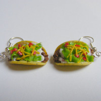 Food Jewelry Taco Miniature Food Earrings - Miniature Food Jewelry, Handmade Jewelry,Mini Food Jewelry