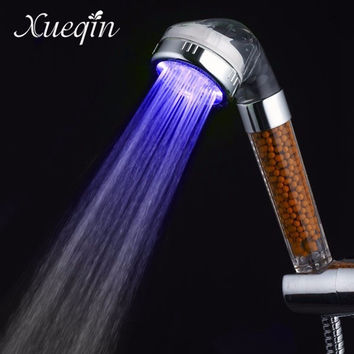 Xueqin Free Shipping Water Saving Colorful LED Light Bath Showerhead Anion SPA Hand Held Bathroom Shower Head Filter Nozzle
