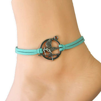bird anklet/bracelet,I love U,arrow anklet,silver charm,mint flocking leather anklet,summer trending,lucky jewelry,unique personalized gift