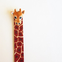 Funny Giraffe book mark, back to school, hand  painted wooden book mark, savannah