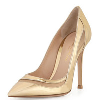 Gianvito Rossi Metallic Leather & Tulle Keyhole Pump, Mekong