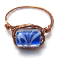 Handmade Copper Wire Wrapped Ring Blue and by silverriverjewelry